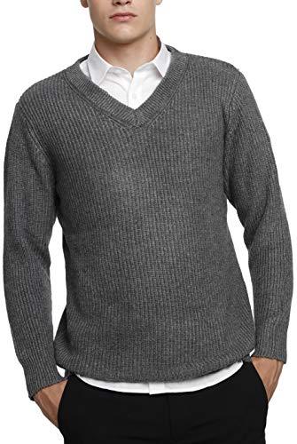LinyXin Cashmere Herren Kaschmir Wolle Rundhals Warm V-Ausschnitt Pullover Langarm Freizeit Winter Pulli Sweater (S, Grau)