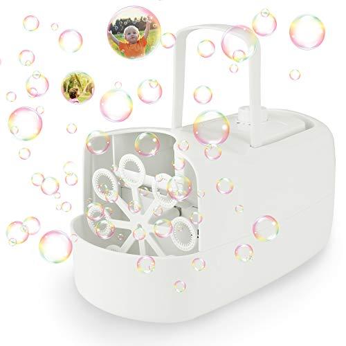 joylink Maquina Burbujas, Maquina Pompas Jabón Automática Portátil con 380 ml Capacidad, 3000+ Burbujas por Minuto Soplador de Pompas Techo Exteriores Juguetes Burbujas para Niños Adultos (Blanco)