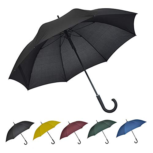 SoulRain 50 Inch Large Stick Umbrella Windproof Automatic Open Oversized J Handle Umbrellas for Men and Women Unbreakable Strong Travel Golf Umbrella Black