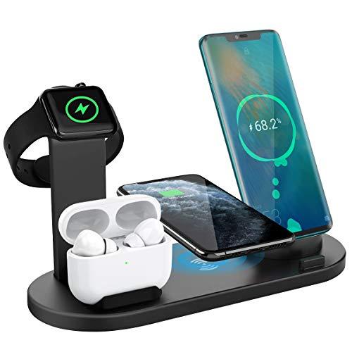 Yaature 3 in 1 Caricatore Wireless, Caricabatterie Senza Fili per iWatch 5/4/3/2/1 & Airpods Pro/2/1, Ricarica Rapida Wireless per iPhone 11/11 PRO/XS/XR/X/8 & Samsung