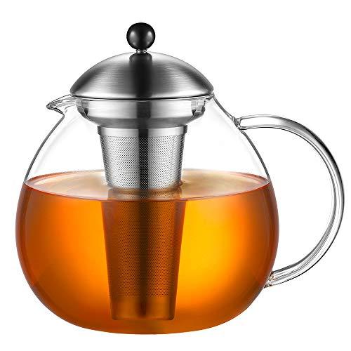 Glastal Glas Teekanne 2000ml mit 18/10 Edelstahl Teesieb Borosilicate Glas Teebereiter auf Stove Glaskanne mit Entfernbar Seibskanne mit Entfernbar Seib