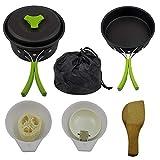 Gcroet Acampar Accesorios de Camping Artículos para cocinar Kit de Picnic Utensilios de Cocina Set de Viaje de artículos de Camping para Acampar sartenes Ollas con Mochila al Aire Libre Senderismo