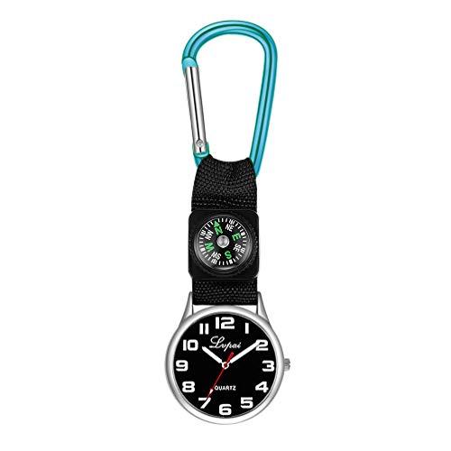 Hemobllo Taschenuhr Schwesternuhr Quarz Clip auf Uhr Hängen Medizinische Taschenuhr Minimalistischen Taschenuhren für Arzt Männer Frauen Bergsteigen (Blau)