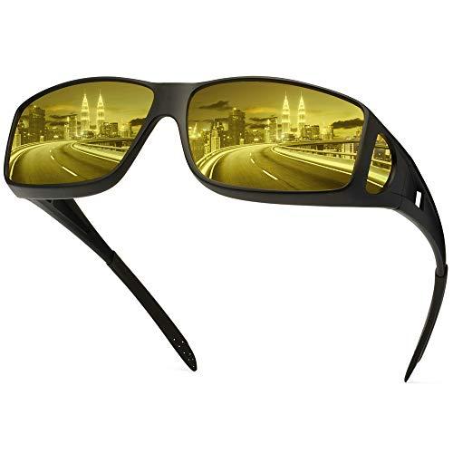 Night Driving Glasses Fit Over Glasses, HD Polarized Anti Glare Wrap Around Night Vision Glasses for Men & Women