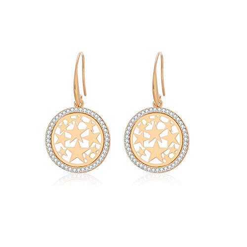 Pendientes de mujer, Pendientes de gancho con colgante de anillo de círculo de estrella de cristal, Pendientes de plata de oro rosa de oro, Regalos encantadores y de moda