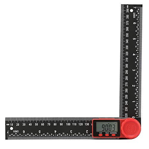 デジタル 角度計 分度器 200mm/300mm 速読デジタルプロトラクター ステンレス鋼 定規 ホールド機能付き 360度自由調整 角度ゲージ デジタル分度器 角度ルーラー 長さ測定 角度定規 角度測定 (200mm)