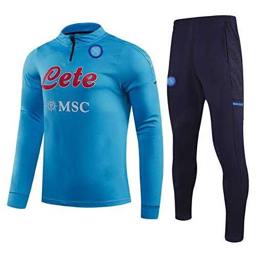 GDHA 2021 Napoli - Tuta da allenamento da uomo, manica lunga, mezza cerniera, traspirante, abbigliamento sportivo + pantaloni, 2 pezzi, blu L