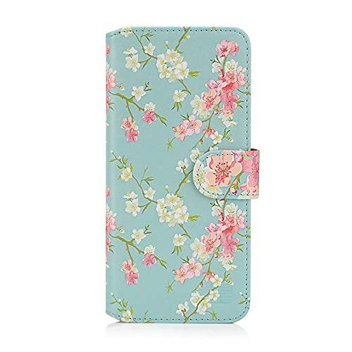 32nd Blumen Series 2.0 - PU Leder-Mappen-Hülle Hülle Cover für Xiaomi Redmi Note 10 Pro, Blumendesign hüllen Entwurf gemacht Mit Kartensteckplatz & Magnetverschluss - Frühlings-Blau