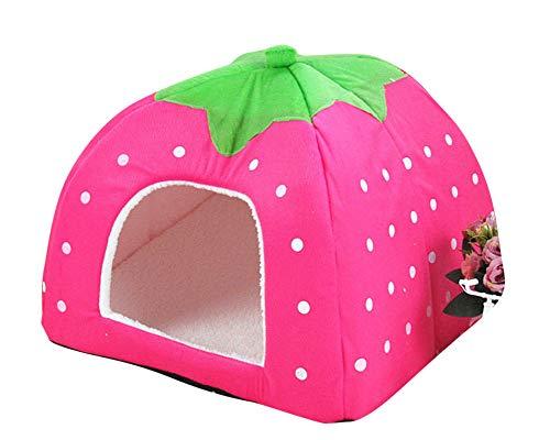 GUOCU Rote Erdbeere Haustierhaus Luxuriöses Weich Schlafsack Hundehütte Katzenhöhle Hund Katze Haus für Kleine Hunde und Katzen Pink XXL