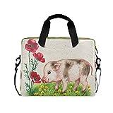 Borsa per computer portatile carino animale maiale fiore papavero valigette borsa da trasporto computer 16 pollici protettiva copertina copertina con manico multi tasche carino design