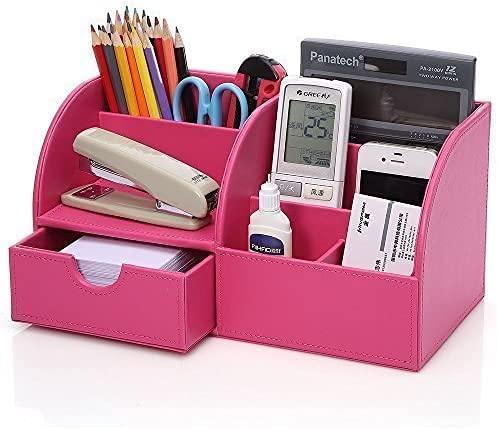 KINGFOM 7 scomparti Multifunzionale Portaoggetti da scrivania in Pelle PU (Rosa)