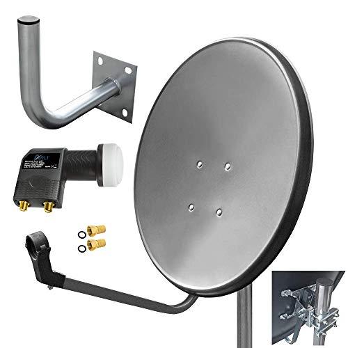 60cm HD Sat Anlage Twin LNB + Wandhalter 25 cm + 2 F-Stecker Digital 2 Teilnehmer Antenne grau UHD 4K