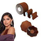 Breast Lift Tape - Bras Tape and Nipple Covers for Women, 2'' Body Tape for Large Breasts, Push Up Tape + Breast Petals Set,Athletic Tape for A-DD Cup (Brown)