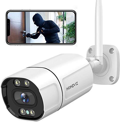 Homeviz OB10 Cámara de Vigilancia WiFi Exterior 2K 3MP Cámara de Seguridad con Visión Nocturna a Todo Color, Movimiento/ Detección Humanoide, IP66 Resistente al Agua, Mensaje Push, Audio Bidireccional