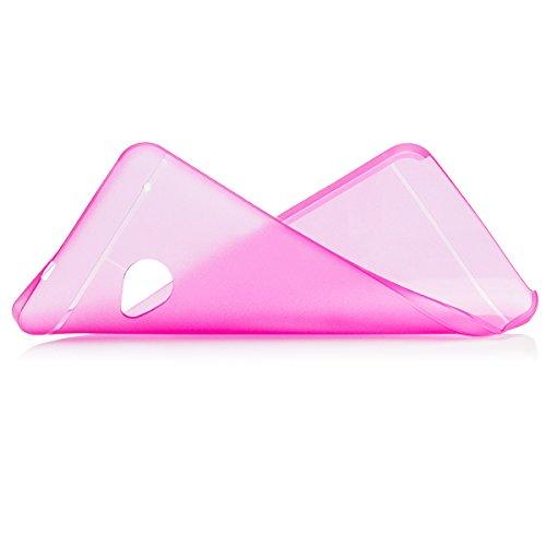 HTC One M7 | iCues cero Matt Case rosado | luz transparente lámina protectora de la piel muy delgada adicional Claro Claro protectora transparente de protección [protector de pantalla, incluyendo] Cubierta Cubierta Funda Carcasa Bolsa Cover Case