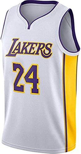 NBA Hombres Mujeres Jersey Lakers No.24 Uniforme de Baloncesto Camisetas de Baloncesto Bordadas Transpirables Swingman(Size:/ XXL,Color:G1)