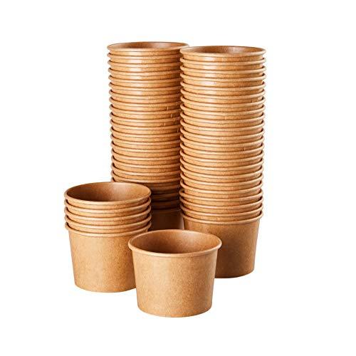 Kraft Paper Ice Cream Cups - 50 Count Wegwerp 5-Ounce Dessert Bowls voor warm of koud voedsel, Feestartikelen Behandel Bekers voor Sundae, Bevroren Yoghurt, Soep, Bruin