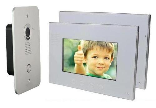 4 Draht Türsprechanlage Gegensprechanlage Video Bildspeicher mit 2x7'' LCD Monitor