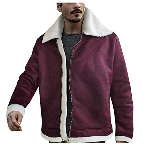 Auifor Fashion Heren Winter Shearling Warm Liner Revers Leren ritssluiting Outwear Top Coat