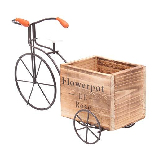 Cabilock Fahrrad Blumenständer Indoor Schaukel Tisch Fahrrad Pflanzgefäß Topf mit Dekorativen Handwerk Holz Blumenkasten (Weiß Groß Zufälliger Stil)