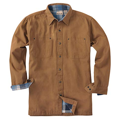 Backpacker Canvas/Flannel Lined Shirt Jacket, Brown, Large