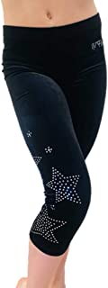 Kids Leggings for Dance, Gymnastics, Tumbling - Girl Capri Velvet Leggings Black