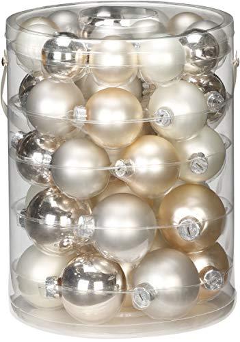 44 TLG. Christbaumkugeln Glas 4,5,6cm Set // Weihnachtskugeln Christbaumschmuck Baumkugeln Baumschmuck Weihnachtsdeko Kugeln Glaskugeln Dose Cloud Dancer - weiß Elfenbein Champagner