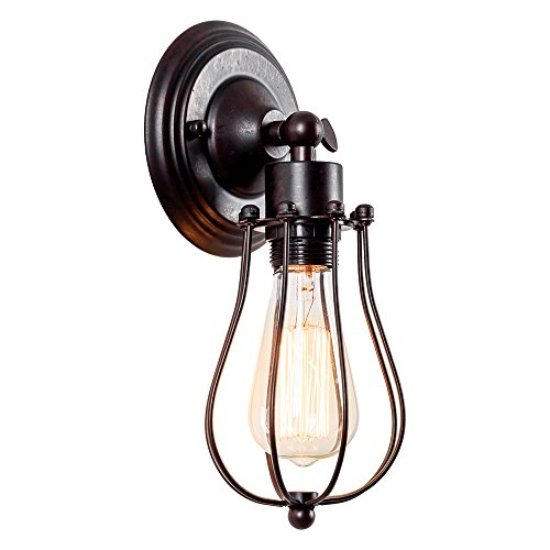 Vintage Wall Sconce Industrial Lighting Luling Adjustable Socket Rustic Wire Metal Cage Oil Rubbed Wall Light Shade Edison Style Antique Fixture for Headboard Porch Mirror (No Bulb) (Rust Color)