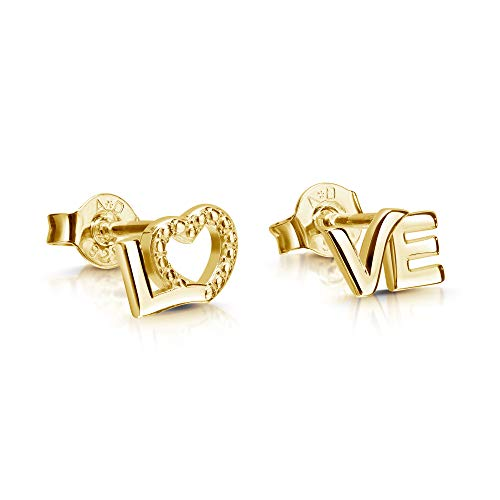 Love Stud Earrings with Heart 333 Yellow Gold 8 Carat / 8 Carat Gold for Women