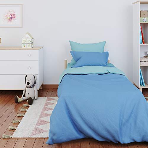 Dreamzie - Colcha Cama - 100% Algodón & Oeko Tex - Color Reversible (Azul + Turquesa) - Funda Nordica 135x200 cm y 1 Fundas de Almohada 80x80 cm