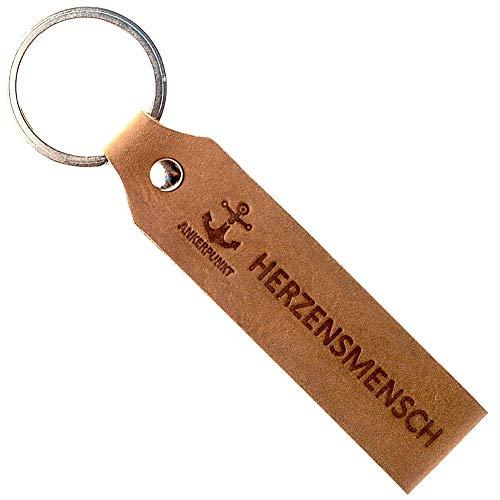 ANKERPUNKT Schlüsselanhänger Leder mit Gravur Herzensmensch - Geschenke für Frauen Männer - Mama Papa Geburtstag Jahrestag - Made in Germany (dunkelbraun) used look