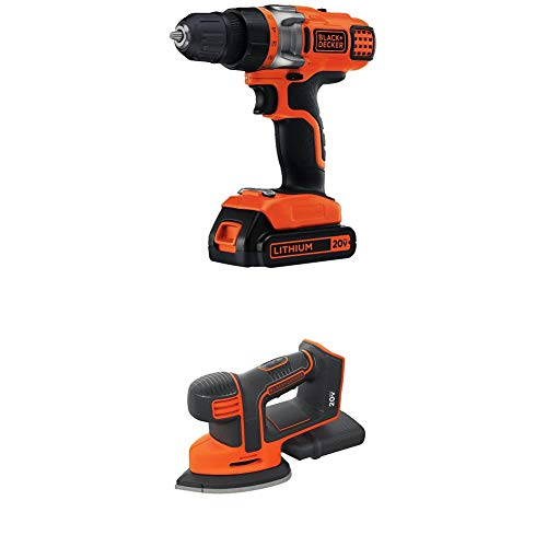 BLACK+DECKER BDCMS20B 20V Cordless Mouse Sander, Baretool with BLACK+DECKER LDX220C 20V MAX 2-Speed Cordless Drill Driver (Includes Battery and Charger)