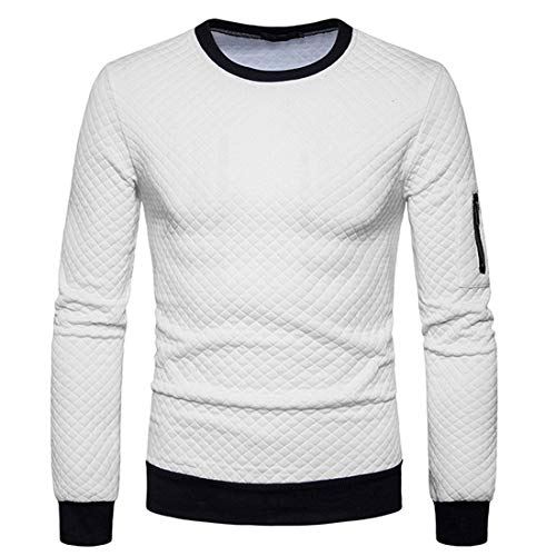 Pullover Herren T-Shirt Herren Rundhals Langarm Baumwolle Blended Weiche Und Bequeme Slim Fit Herren Sweatshirt Herbst Neues Temperament All-Match Herren Sweatshirt White XXL