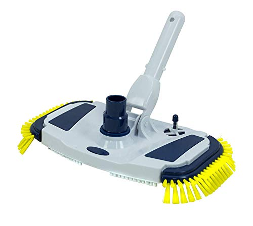 Aqua Select Weighted Vacuum Head with Side Brushes for Cleaning Above Ground & Inground Swimming Pool | Flexible Handle with EZ Clips | Quickly Clean Walls, Corners and Slopes