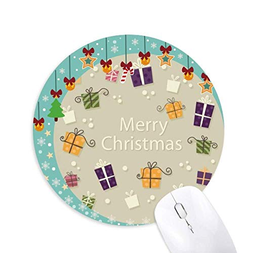 Weihnachtsgeschenk Fröhliches Weihnachtsfest Mouse Pad Jingling Bell Round Rubber Mat