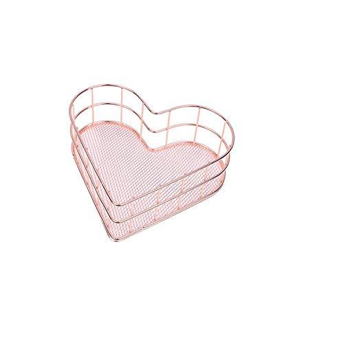 Big Incisor Bikini Veranstalter Kosmetiktasche  Iron Art Makeup Organizer Roségold Herzförmiges Make-up Aufbewahrungskorb Schminktisch Organizer Make-up Kosmetischer Organizer Box-Rose Gold-