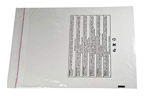 Bolsa de plástico con adhesivo resellable para ropa o para envolver productos para envíos de la FBA con un mensaje de advertencia de riesgo de asfixia en 6 idiomas.