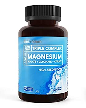 BioEmblem Triple Magnesium Complex   300mg of Magnesium Glycinate Malate & Citrate for Muscle Relaxation Sleep Calm & Energy   High Absorption   Vegan Non-GMO   90 Capsules