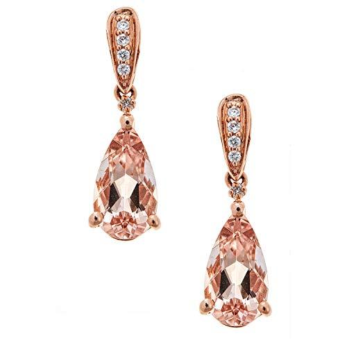 Gin & Grace Oro de 14K Rose genuino Morganita y diamante natural pendiente de gota del estilo para la Mujer