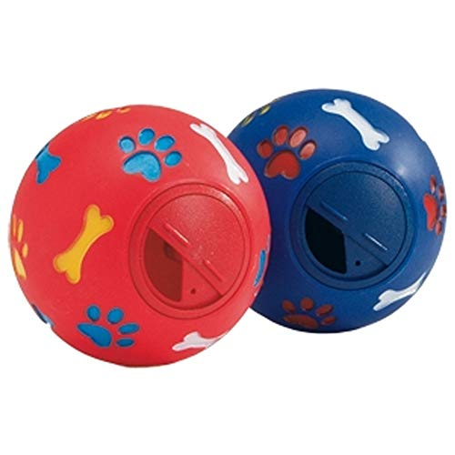 Global Pelota Porta Snacks para Perro | Juguete para Perro | Pelota de Goma con Sonido para Perro