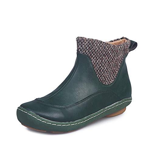 Botines Mujer Botas Mujer Zapatos de Cordones Vintage Otoño Botas Tacón Plano Cómodas Mujeres Botas Cortas...