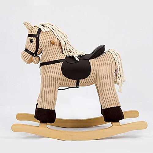 Tritow Brown Pony Child Rocking Horse Kids Plush Ride-On Rocking Horse Wooden Rocking Horse Plush Rocking Animal Baby Rocking Chair Infant Boy Girl Plush Animal Rocker