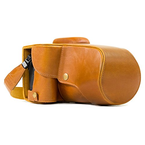MegaGear MG1186 Canon EOS Rebel T6s, 8000D (18-55mm) Ever Ready Leather Camera Case and Strap - Light Brown