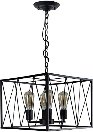 WEM Loft Vintage Chandelier 4 Luces de Mesa de Comedor Luces Colgantes Luces de Restaurante Blalámpara de Techo Antigua de Hierro Ck
