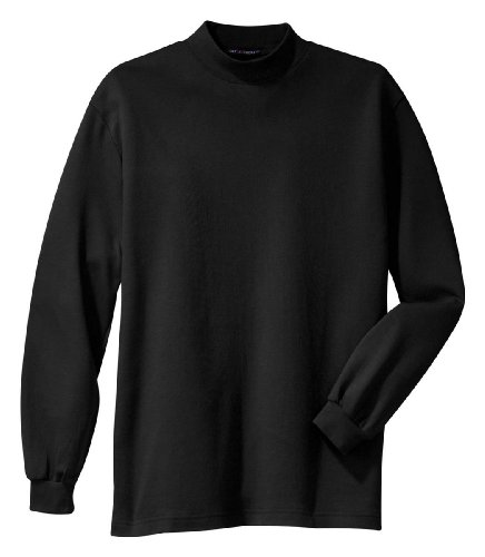 Port Authority Interlock Knit Mock Turtleneck, L, Black