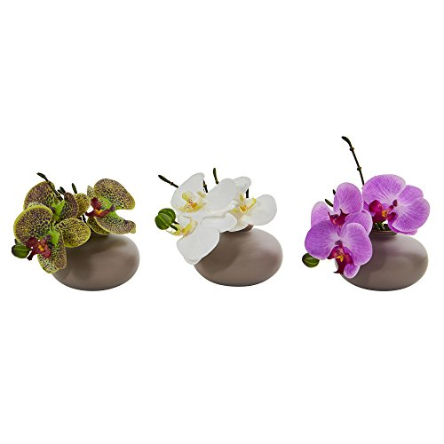 """Nearly Natural Artificial Multi Color Piece 1 7"""" Phalaenopsis Orchid Arrangement, Set of 3, 7', 3"""