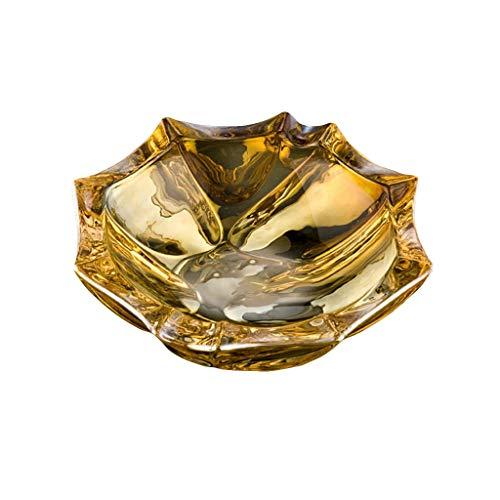 JXLBB Cendrier En Verre En Cristal Maison Style Européen Salon Bureau Décoration Ornements Mode Hommes Doré Champagne Forme De Fleur Personnalité Créative