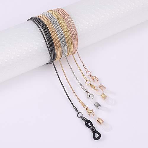 Opopark 5 Piezas Gafas Cadena Gafas Cadena Fija Gafas de Sol Cadena Metal Rosegold Correa de Retención