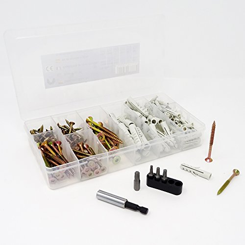 Schrauben & Dübel Sortiment 170 tlg. inkl. Magnet-Bithalter + Bits Spanplattenschrauben