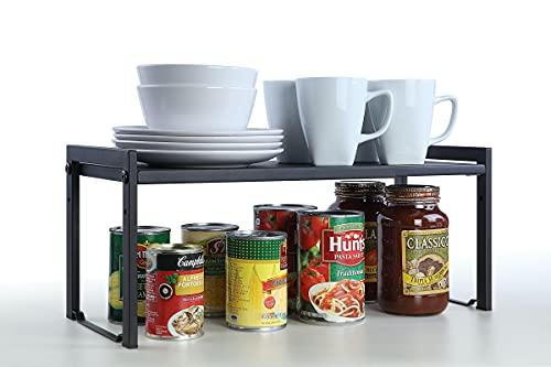 "SunnyPoint Expandable Cabinet Storage Rack - Tabletop Storage Spice Shelf Organizer Rack (M - 15.1""~25.78""W X 7.87""D X 8.46""H, BLACK)"
